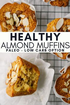 These Healthy Almond Muffins are the perfect paleo and grain-free breakfast or snack. They have all of the flavors of your favorite almond croissant but with some cleaned up ingredients! Muffin Recipes, Baby Food Recipes, Breakfast Recipes, Free Breakfast, Paleo Breakfast Muffin, Dinner Recipes, Breakfast Casserole, Dessert Recipes, Healthy Baking