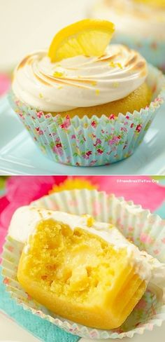 Fluffy cupcakes filled with luscious LEMON MOUSSE and Topped with Toasted MERINGUE... Need to make for my Dad