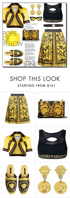 """(TFS)Get Happy: Pops of Yellow"" by shoaleh-nia ❤ liked on Polyvore featuring Versace and Moschino"