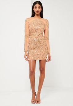 Gold Embellished Long Sleeve Dress