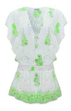 Neon Floral Deep V Beach Dress by Juliet Dunn