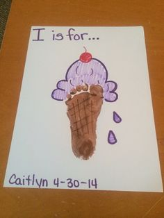 """I"" is for...ICE CREAM!!!!  Cute for the spring or summer...put it in a frame for wall art!!"