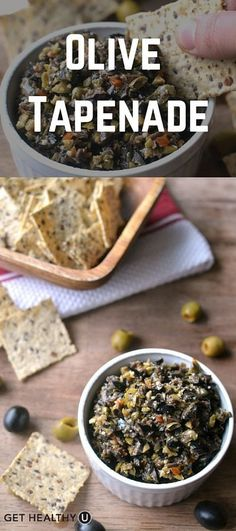Whenever I go to parties, I make sure to bring something healthy that I know I'll be able to eat if, by chance, there aren't a whole lot of other healthy options. And this olive tapenade fits all my criteria! Vegan Sauces, Vegan Dishes, Vegan Recipes, Cooking Recipes, Tapenade, Vegan Appetizers, Appetizer Recipes, Pesto, Dips