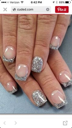 Sparkly French Manicure, French Manicure Designs, French Tip Nails, Nail Polish Designs, Fancy Nails, Pretty Nails, Nail Art Designs, French Manicures, Glitter French Tips