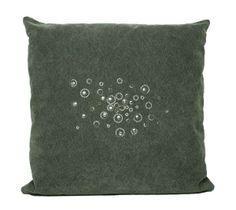 """Almofada de lona lavada, frente com """"Aplic"""" cristais e metais Swarovski."""