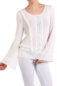 Hermosa Bell Sleeve Top - White