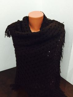Handwoven wool dark brown scarf winter scarf crochet by GCbazaar