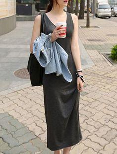 Fashionable Women's Sleeveless Pure Color Tank Dress