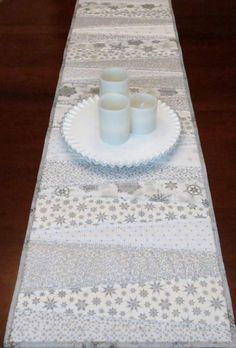 Quilted Table Runner 5 Foot Long Pieced Wedges White by MiniMade