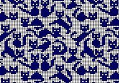 "Жаккард. Орнамент ""кошки"", схемы и рисунки. | Дамская копилка"