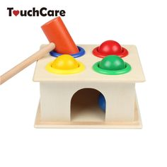 Newborn Colorful Hammering Wooden Ball Hammer Box Geometric Blocks Kids Early Learning Educational Toys Children Gift Toy