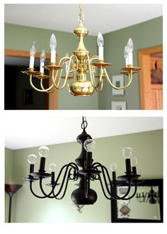 DIY Chandelier Makeovers – Bye Bye Brass – Easy Ideas for Old Brass, Crystal and… - All For Decoration Spray Painted Chandelier, Brass Chandelier Makeover, Gold Chandelier, Painting Chandeliers, Vintage Chandelier, Light Fixture Makeover, Chandelier Ideas, Shabby Chic Bedrooms, Shabby Chic Furniture