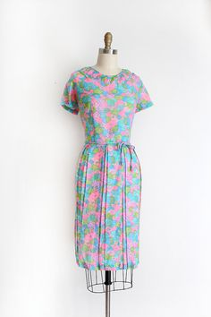 vintage NOS 1960s dress // 60s colorful day dress by TrunkofDresses