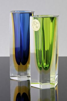 Pair of faceted glass sommerso vases, Mandruzzato, Italy circa 1970's | Flickr - Photo Sharing!