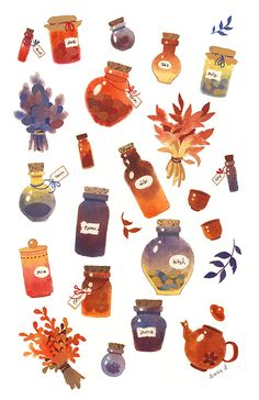 Netta's collection. Gouache studies I made in 2016.
