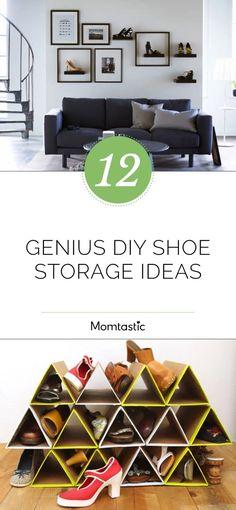 Home - Shoe Storage 12 Genius DIY Schuh Aufbewahrungsideen Kitchen installation: things to consider. Diy Shoe Storage, Diy Shoe Rack, Storage Ideas, Storage Solutions, Shoe Racks, Clothes Storage, Genius Ideas, Diy Garden Decor, Garden Decorations