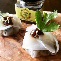 Vegan-GlutenFree dumplings with Wasabi Date Sauce, crunchy sesame and fresh corriander 😋❤️ Dumplings, Preserves, Glutenfree, Pudding, Vegan, Fresh, Healthy, Desserts, Food