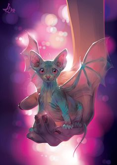 None of the artwork nor photography posted here is mine, credit goes to their rightful owners. Cute Fantasy Creatures, Magical Creatures, Cute Animal Drawings, Cute Drawings, Dragon Art, Fantasy Artwork, Cat Art, Illustrations, Sphynx
