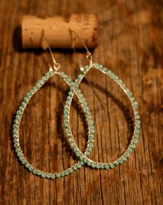 turquoise seed bead large hoop earrings by kdbgross on Etsy, $20.50
