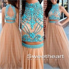 Modest long prom dress, champagne long prom dress for teens, ball gown, unique two pieces prom dress, evening dress 2016
