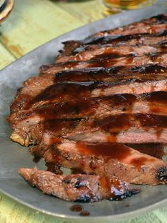 Bourbon Brown Sugar Glazed Flank Steak - This flank steak looks amazing.  It looks super tender.