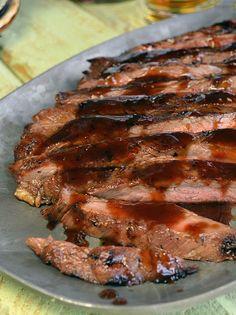 Bourbon Brown Sugar Glazed Flank Steak - This flank steak looks amazing.  It looks super tender.