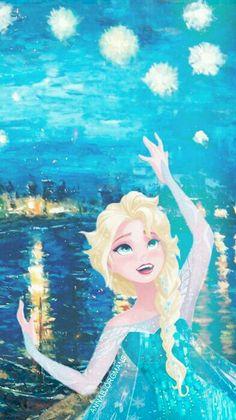 Elsa + Van Gogh= let it Gogh:-) haha sometimes I am just so punny.I crack myself up < Only pinning for that comment. Frozen Disney, Elsa Frozen, Disney Magic, Frozen Heart, Disney Films, Disney And Dreamworks, Disney Pixar, Disney Characters, Jack Frost