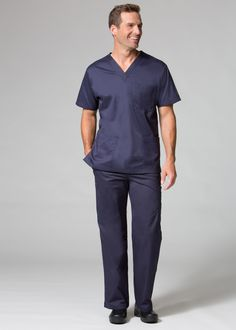 Guys need comfortable, functional scrubs too and our Men's collection offers them just that. This 3-pocket V-neck top provides extra room for storing all those medical tools, while the comfortable fabrics give just the right amount of stretch so that you don't feel constricted at work. #scrublife #maevnscrubs #medical #nurse #doctor