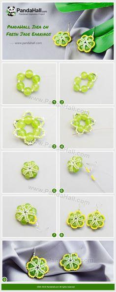 Tutorial On Fresh Jade Earrings Diy Schmuck, Schmuck Design, Diy Jewelry Projects, Jewelry Crafts, Beaded Jewelry Patterns, Beading Patterns, Diy Earrings Easy, Knitted Necklace, Jade Earrings