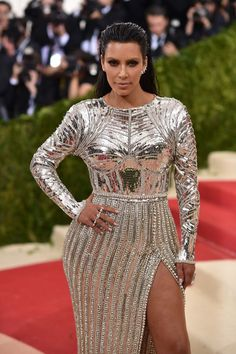 Kanye West and Kim Kardashian attend the Balmain and Olivier Rousteing after the…