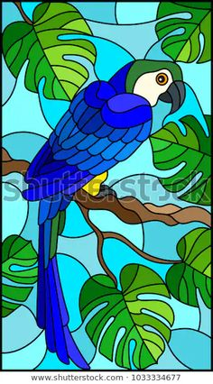Illustration in stained glass style blue bird parakeet on branch tropical tree against the sky Stained Glass Quilt, Stained Glass Birds, Stained Glass Designs, Stained Glass Patterns, Stained Glass Windows, Glass Painting Patterns, Fabric Painting, Vogel Illustration, Bird Artwork