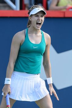 Eugenie Bouchard Photos - Eugenie Bouchard of Canada reacts against Lucie Safarova of Czech Republic during day two of the Rogers Cup at Uniprix Stadium on July 26, 2016 in Montreal, Quebec, Canada. Eugenie Bouchard defeated Lucie Safarova 3-6, 6-3, 6-7. - Rogers Cup Montreal - Day 2