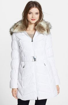 Free shipping and returns on Laundry by Shelli Segal Belted Puffer Coat with Faux Fur Trim at Nordstrom.com. Ruching at the sleeves and lush faux fur at the collar and hood feminize a fitted anorak insulated with cozy down-and-feather fill and cinched with an elasticized belt. The trim and the hood remove for a variety of styling options. $158.89