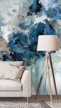 Create a beautiful blue living room with this stunning floral watercolour wallpaper by Carol Robinson. Place this blue floral wallpaper behind a comfy off white couch and style with neutral coloured decor. Add a wooden floor lamp to add natural textures and warmth to the room, and add a monochrome geometric rug to incorporate subtle pattern clashing. Get the look at Wallsauce.com! #bluewallpaper #wallpaperdecor #wallpaperinspo #livingroominspo #livingroomdecor #interiordecor Blue Floral Wallpaper, Navy Wallpaper, Watercolor Wallpaper, Wallpaper Decor, Blue Wallpapers, Wooden Floor Lamps, Geometric Rug, Wall Murals, Living Room Decor