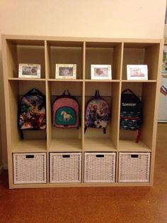 """24 Reader School Bag Nooks We've just created this bag and shoe storage unit from an ikea """"kallax """". My husband braced t"""