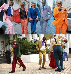 Les Sapeurs RDC x Congo Brazza Zaire Paris Chateau Rouge x Chateau d'ea This image shows many examples of black dandy style. The over stylized suits in numerous vibrant colors as well as a tight fit give the dandy feel. African Men, African Fashion, African Style, Congo, Suit Fashion, Mens Fashion, Fasion, Retro Fashion, Urban Outfit