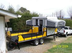 RV And Camping. Ideas To Help You Plan A Camping Adventure To Remember. Camping can be amazing. You can learn a lot about yourself when you camp, and it allows you to appreciate nature more. There are cheerful camp fires and hi Utility Trailer Camper, Cargo Trailer Conversion, Camper Conversion, Toy Hauler Trailers, Toy Hauler Camper, Camper Trailers, Travel Trailers, Truck Camping, Camping Survival