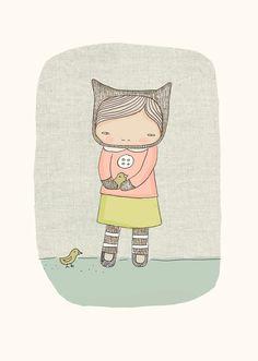Children Art Print Elka Bear Girl and the Birds - Illustration. $16.00, via Etsy.