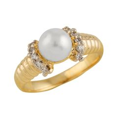 10K Gold Ring with 6-7mm White freshwater pearl and 0.20CT diamonds