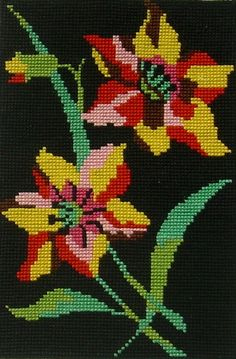 Items similar to needlepoint tapestry in cross stitches, black ground and colorful flowers wall tapestry on Etsy Cross Stitches, Flower Wall, Colorful Flowers, Wall Tapestry, Needlepoint, Hand Embroidery, Handmade Gifts, Crochet, Projects