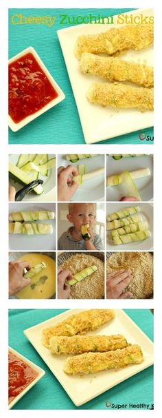 Gooey warm mozzarella sticks with the added nutrition of zucchini!  Give your kids a chance to try more texture and flavors with this yummy snack! #healthysnack #zucchini #mozzarellasticks from Super Healthy Kids