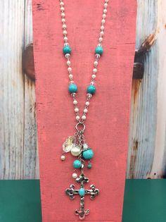 Pearl/Turquoise Cross Necklace - NEK915TU