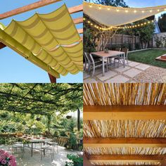 12 creative attractive shade structures patio cover ideas such as DIY friendly fabric canopy shade sails simple pergolas vines for sun shades etc A Piece of Rainbow home improvement garden design landscaping patio decor Garden Trellis, Garden Shrubs, Patio Plants, Plants Indoor, House Plants, Herb Garden In Kitchen, Fabric Canopy, Diy Bed Frame, Vegetable Garden Design