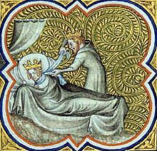 Galswintha (540–568) was the daughter of Athanagild, Visigothic king of Hispania and Goiswintha. Galswintha was the sister of Brunhilda, queen of Austrasia; and the wife of Chilperic I, the Merovingian king of Neustria. Galswintha and Chilperic were married at Rouen in 567, but soon afterwards she was murdered at the instigation of Chilperic's mistress Fredegund, who then married him. Chilperic in turn was murdered by Fredegund in 584.