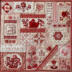 No photo description available. Embroidery Sampler, Sampler Quilts, Embroidery Applique, Machine Embroidery Designs, Small Quilts, Mini Quilts, Red And White Quilts, Country Quilts, Red Fabric
