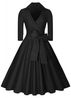 Dior style 1950s Black Wrap Swing Dress