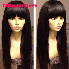 102.00$  Watch now - http://ali92h.worldwells.pw/go.php?t=32348080238 - Hot 180 Heavy density 7A Peruvian Silky Straight Full Lace Human Hair Wigs With Bangs Virgin Human Hair Glueless Full Lace Wig 102.00$