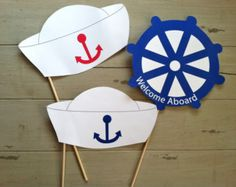 Anker weg nautische Sailor Foto Booth Party Requisiten Anker Weg nautische Sailor's Photo Booth Part Sailor Birthday, Sailor Party, Nautical Mickey, Nautical Party, Baby Shower Themes, Baby Boy Shower, Nautical Photo Booth, Baby Shower Marinero, Photo Booth Party Props