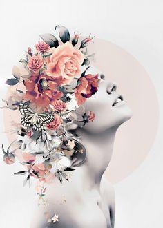 Bloom 7 Mini Art Print by Mode Collage, Collage Art, Frida Art, Nature Posters, Poster Prints, Art Prints, Portrait Art, Woman Portrait, Cool Artwork