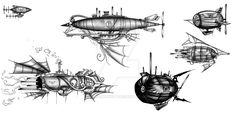 Steampunk Airships by BunnyBennett.deviantart.com on @DeviantArt